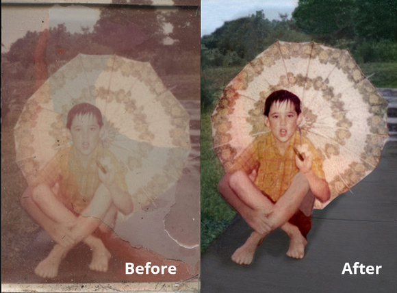 Faded photo of child with umbrella in the rain and its restoration
