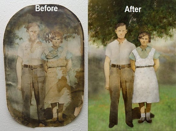 Old faded photograph and its restoration