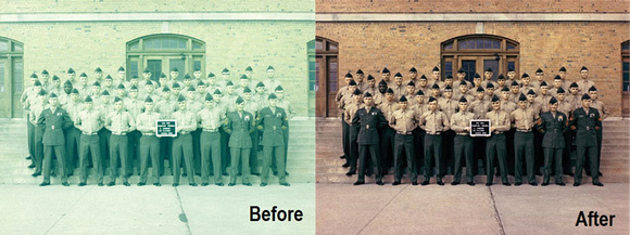 Old green photo of ROTC and its restoration